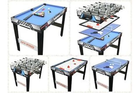 4 in 1 Multi- Game Pool Table Tennis Football Air Hockey ...