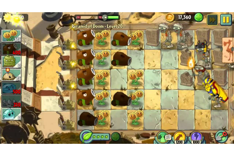 Pyramid of Doom Level 20 It's only coconut canon PvZ2 ...