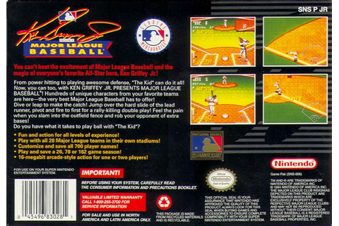 Ken Griffey Jr Presents Major League Baseball (1994) SNES ...