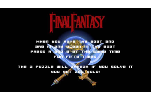 Final Fantasy NES cheat, tip for the NES game - YouTube