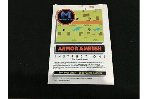 Armor Ambush Atari 2600 Video Game Instruction Manual | eBay
