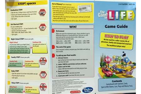 What are the instructions for the HASBRO Game of Life 2013 ...