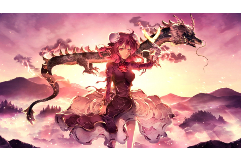 Wallpaper : landscape, illustration, anime girls, sky ...