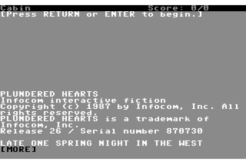 Plundered Hearts (1987) by Infocom C64 game