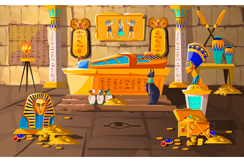 Ancient Egypt tomb of pharaoh cartoons vector - Download ...
