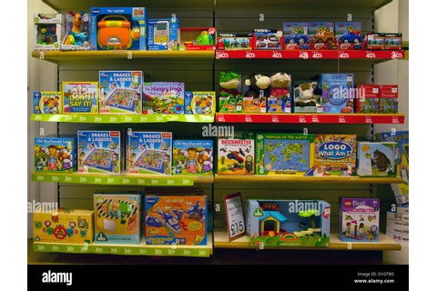 Toy and Games Shop Display Childrens Toys Games Stock ...