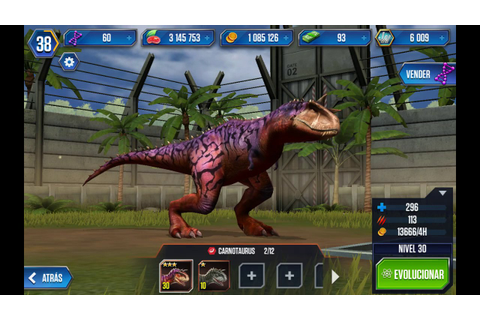 Jurassic world the game all dinosaurs - YouTube