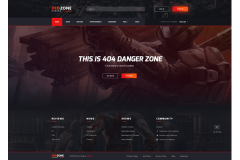 Red Zone - Game PSD Template (Blog, Review, Portal ...