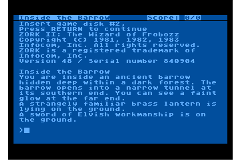 Zork II: The Wizard of Frobozz - My Abandonware