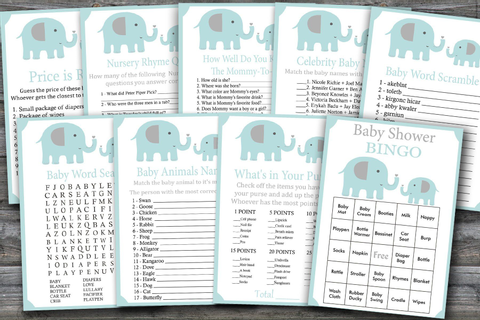 elephant baby shower games package, blue elephant Baby ...