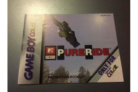 MTV Sports Pure Ride Manual Nintendo Gameboy Color GBC ...