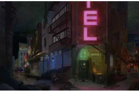 ArtStation - Cyberpunk Alley / Black Market Doctor Concept ...