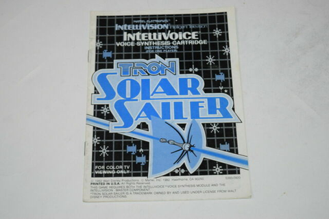 Tron Solar Sailer Intellivision Video Game Manual Only | eBay