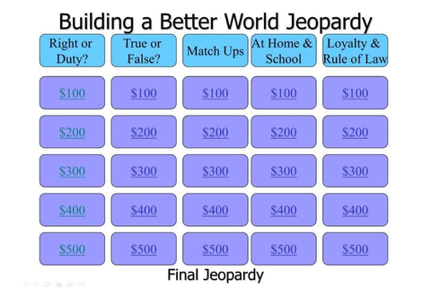 Jeopardy Game for Building a Better World Adventure ...