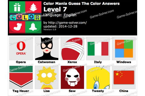 Color Mania Guess The Color Level 7 - Game Solver