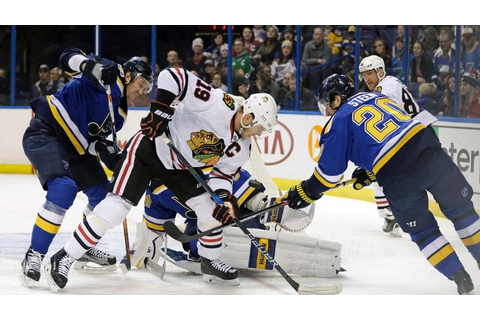 Hinostraza scores tiebreaker, Blackhawks beat Blues 6-4 ...