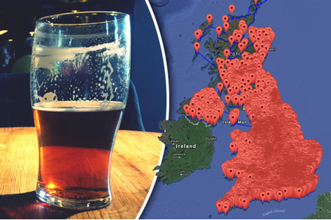 Britain's biggest bar crawl? Map reveals nearly every pub ...