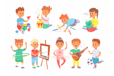Children playing different games ~ Illustrations ...