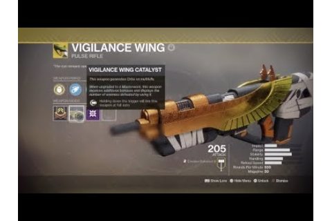 Destiny 2 How to get Vigilance Wing Catalyst - YouTube