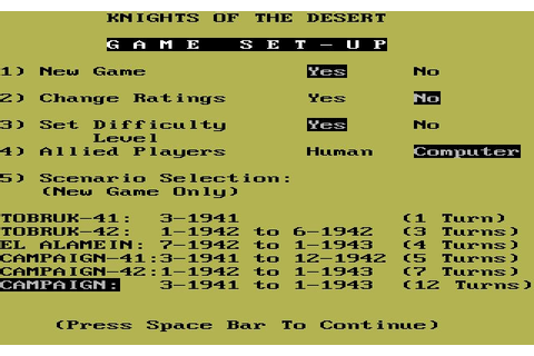 Download Knights of the Desert strategy for DOS (1983 ...