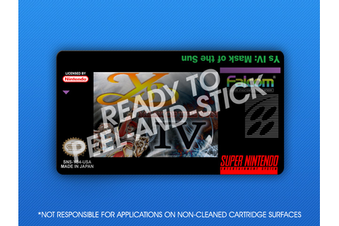 SNES - Ys IV: Mask of the Sun Label | Retro Game Cases