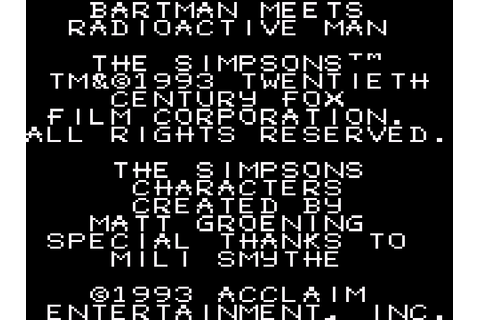 Simpsons The Bartman Meets Radioactive Man Download Game ...