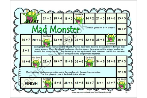 12 Printable Division Board Games from Games 4 Learning ...