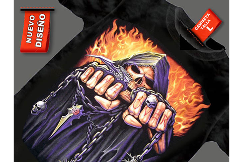 CAMISETA NEGRA CON CADENAS GAME OVER FUEGO, camisetas2010
