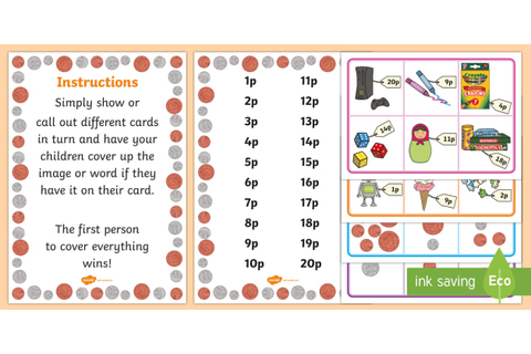 Toy Shop Money Game - Toy Shop Bingo