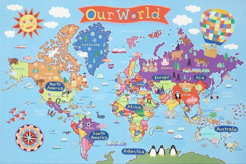 'Kid's Laminated World Map' Poster | AllPosters.com