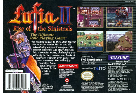 Lufia II: Rise of the Sinistrals (1995) SNES box cover art ...