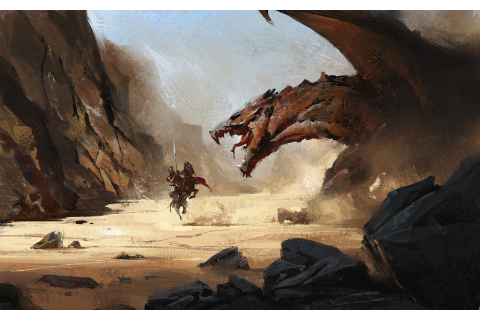Download 1920x1200 Dragon, Knight, Desert, Painting, Horse ...