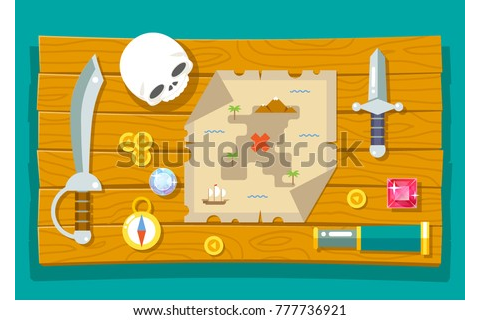 Pirate Treasure Adventure Game RPG Map Image vectorielle ...