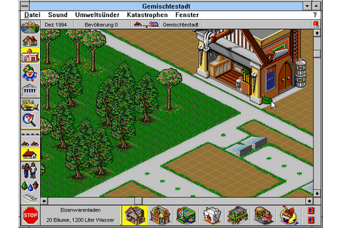 SimTown (1995) by Maxis / Aurora Design Win3.1 game
