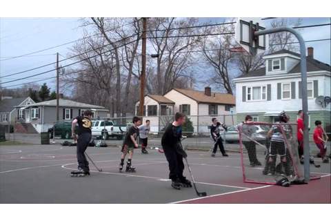 STREET HOCKEY GAME AND FIGHT - YouTube