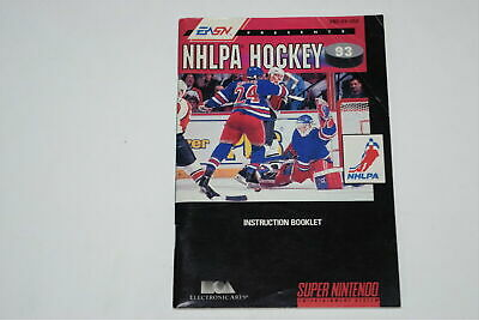 NHLPA Hockey '93 Super Nintendo SNES Video Game Manual ...