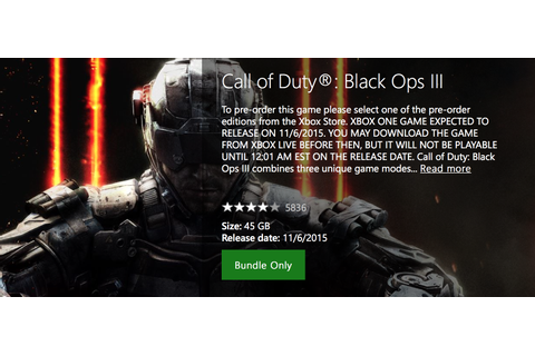 Call of Duty: Black Ops 3 Download Size Revealed on Xbox ...