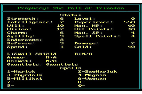 Download Prophecy: the fall of Trinadon rpg for DOS (1989 ...