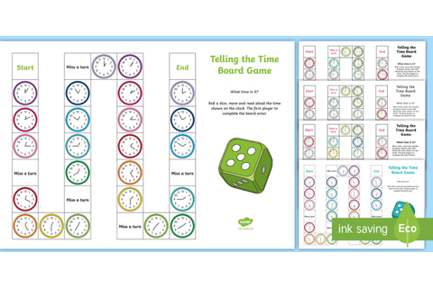 Telling the Time Board Game - Clock Display - Maths - Twinkl