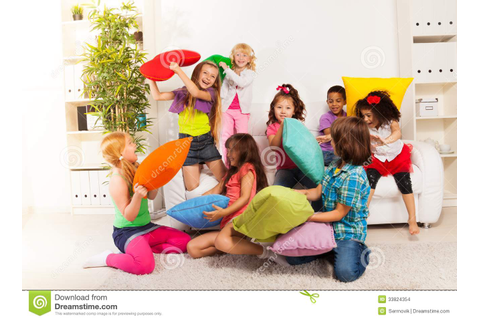 Pillow fight stock photo. Image of caucasian, home, game ...