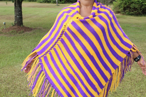 Purple and Gold Game Day Knit Poncho w/ Fringe | Etsy
