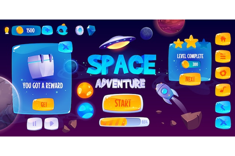 Graphic user interface for space adventure game | Free Vector