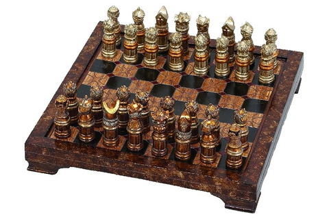 ... Resin Game Board Brown Checkered 32 Decor traditional-board-games-and