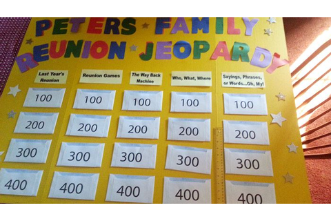 Peters 2014 Family Reunion Jeopardy board | Games reunions ...