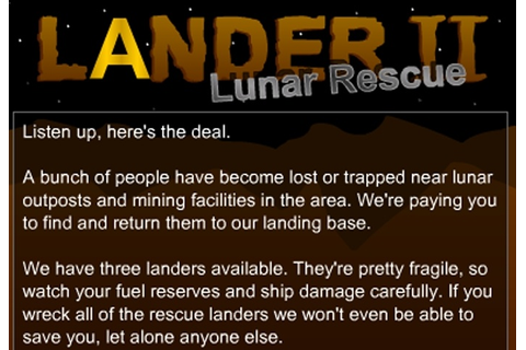 Lander 2 - Lunar Rescue Game - Retro games - Games Loon