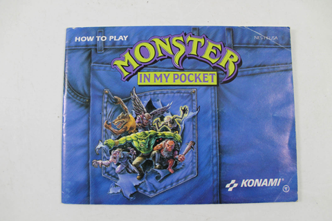 Manual - Monster In My Pocket - Rare Nes Nintendo