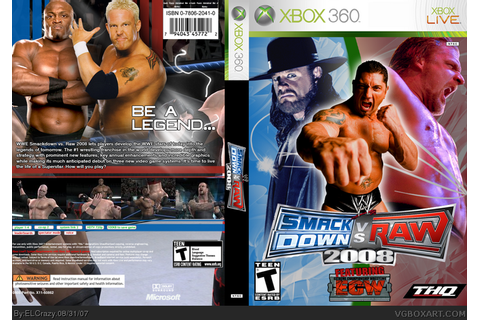 WWE SmackDown! vs. RAW 2008 Xbox 360 Box Art Cover by ELCrazy
