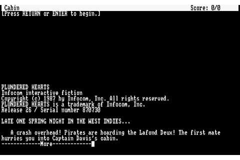 Plundered Hearts (1987) by Infocom Amstrad CPC game