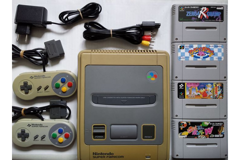 Japanese Super Nintendo console + 4 games (Kirby, Goemon ...