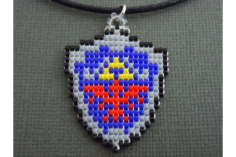 Hylian Shield Necklace, Seed Bead, Video Game Jewelry ...